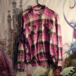 🍁- ⭐aeropostale White, pink& gray plaid butto…